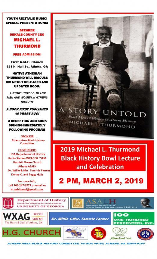 2019 Michael L  Thurmond Black History Bowl Lecture & Celabration