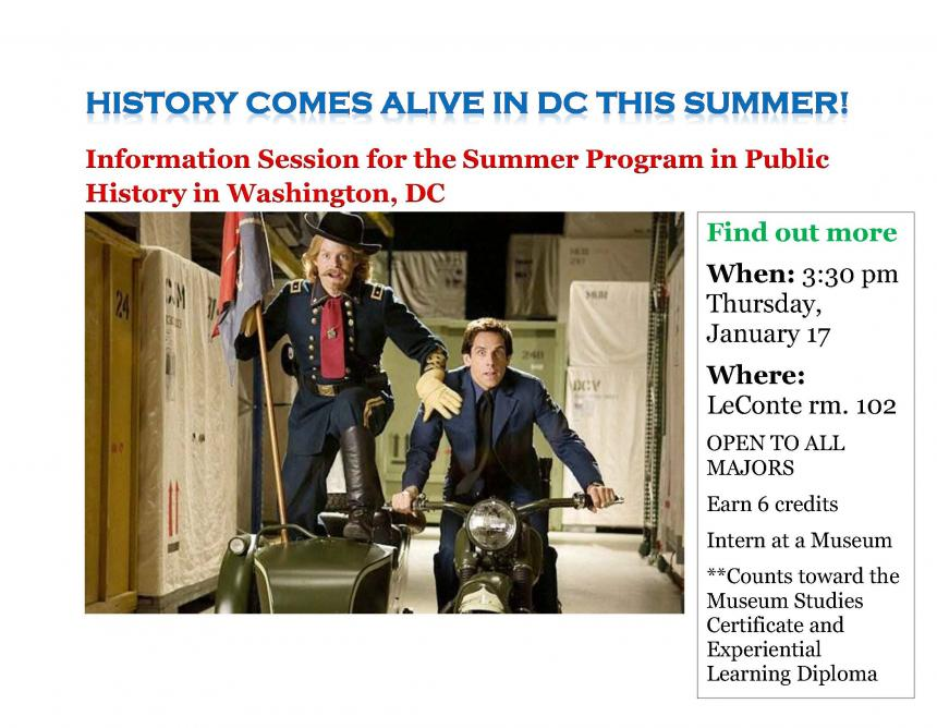 flyer for Public History Information session Thursday Jan. 17, 3:30 PM Room 102 LeConte Hall