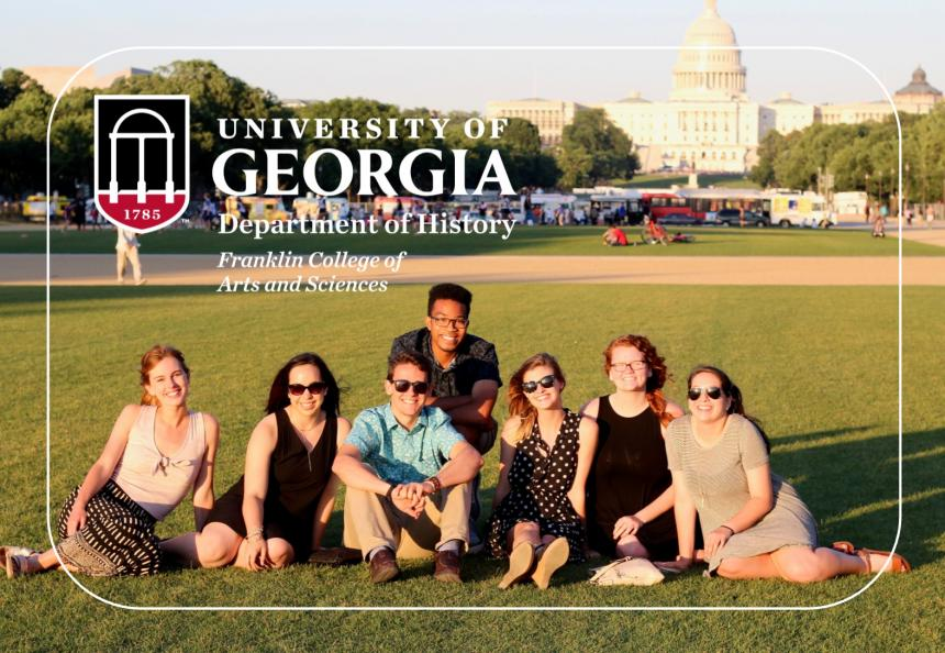 Photo a group of UGA public history interns in Washington DC and the UGA logo
