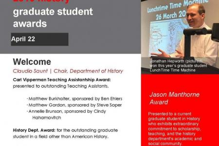 part of front page of 2019 graduate student awards program