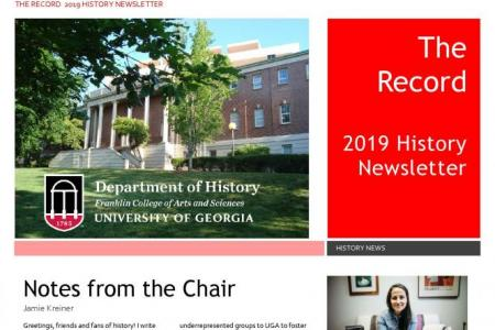 front cover of 2019 annual newsletter with photos of LeConte Hall and Dr. Kreiner