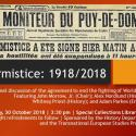 Armistice: 1918/2018 flyer includes a small photo of newspaper from 1918